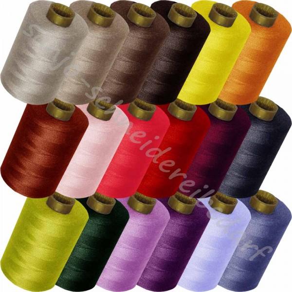 Nähgarn Polyester (1000 m / Stärke 100 / GOLDMANN) - 5er-Set (5 verschiedene Farben)
