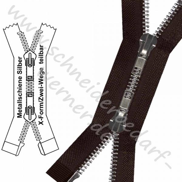 Reißverschluss für Lederjacken / Mäntel - 8 mm Metallschiene - X-Form/2-Wege - Teilbar