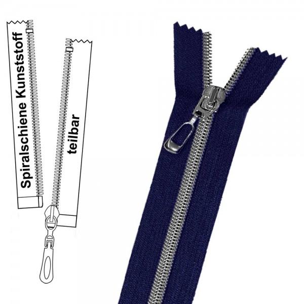 Reißverschluss für Jacken - 6 mm metallisierte Spiralschiene (Kunststoff) - 1-Weg - Teilbar