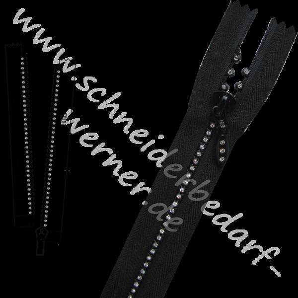 5 mm - Strass-Reißverschluss (Krampenschiene) - 1-Weg - Teilbar