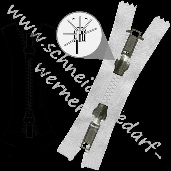 6 mm - 2-Wege-Wende-Reißverschluss (Krampenschiene (Kunststoff)) - X-Form - Teilbar
