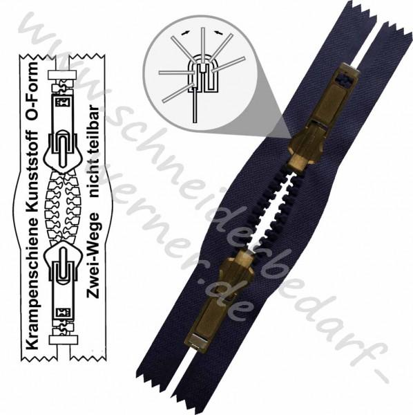 6 mm - 2-Wege-Wende-Reißverschluss (Krampenschiene (Kunststoff)) - O-Form - Nicht Teilbar