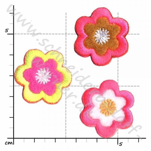 Applikation zum Aufbügeln (3 Blumen Neon-Farben)