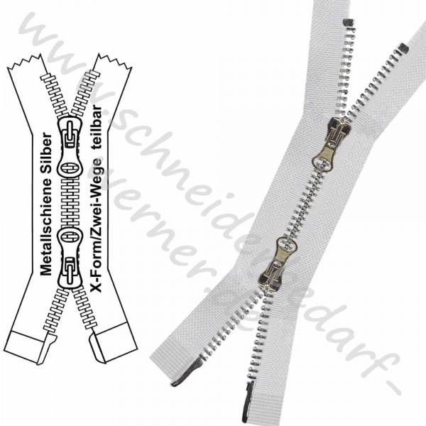 Reißverschluss für Jacken / Mäntel - 6 mm Metallschiene - X-Form/2-Wege - Teilbar