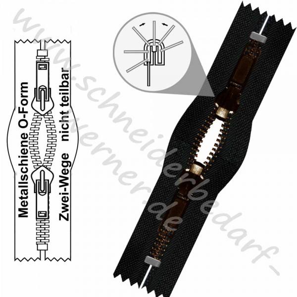 6 mm - 2-Wege-Wende-Reißverschluss (Metallschiene) - O-Form - Nicht Teilbar