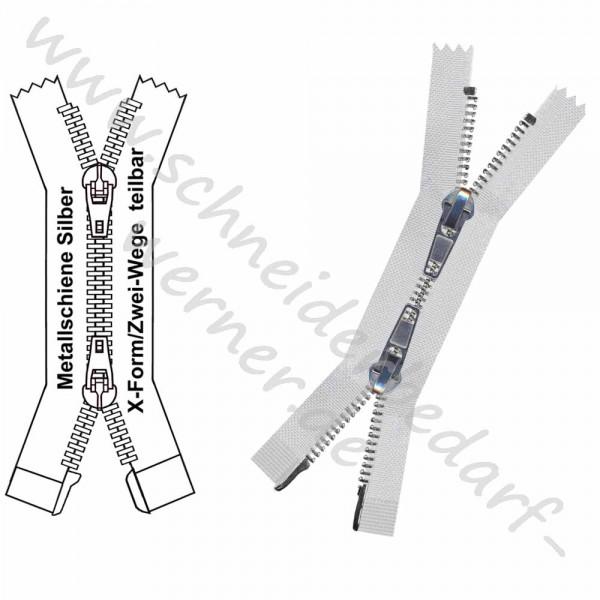 4,5 mm - Reißverschluss Metallschiene - X-Form/2-Wege - Teilbar