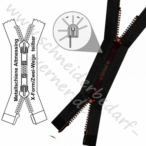 Reißverschluss für Wendejacken - 6 mm Metallschiene - 2-Wege/X-Form -Teilbar
