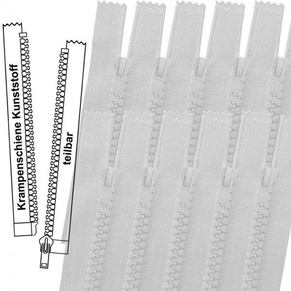 10er Set Reißverschluss für Jacken - 6 mm Kunststoff Krampe / Delrin - 1-Weg - Teilbar (10 Stück)