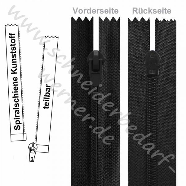 Reißverschluss für Softshelljacken - 6 mm umgekehrte Spiralschiene - 1-Weg - Teilbar