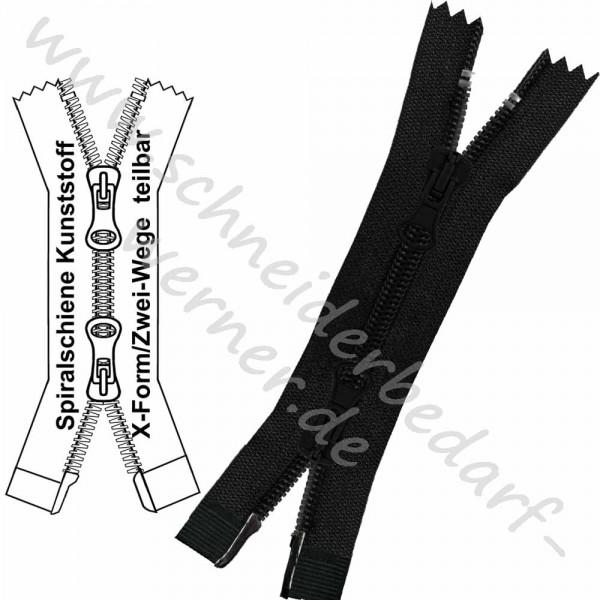 Reißverschluss für Jacken / Mäntel - 6 mm Spiralschiene (Kunststoff) - X-Form/2-Wege - Teilbar
