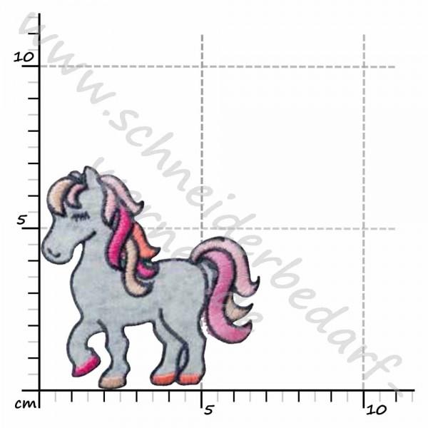 Applikation zum Aufbügeln (Pony rosa-weiß)