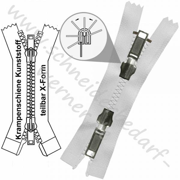 Reißverschluss für Wendejacken - 6 mm Krampenschiene (Kunststoff) - 2-Wege/X-Form -Teilbar