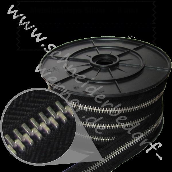 8 mm - Reißverschluss Metallschiene - Meterware