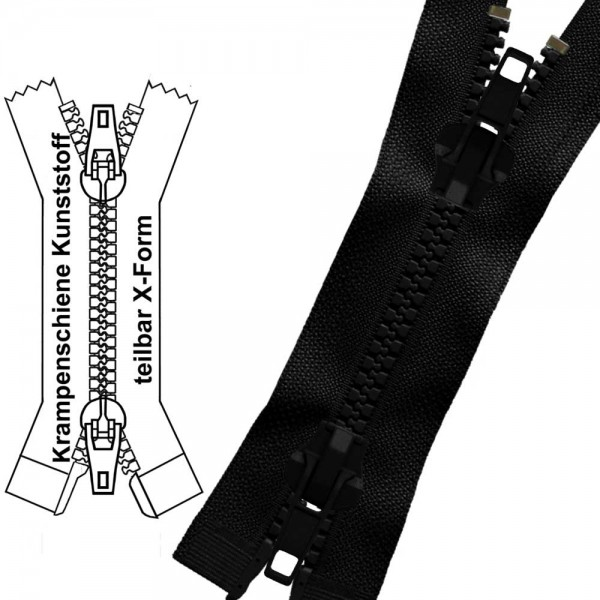 Reißverschluss für Motorradjacken - 9 mm (extra breite) Krampenschiene - 2-Wege/X-Form - Teilbar