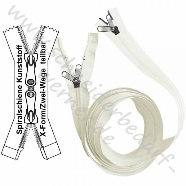 Reißverschluss für Zelte / Boote - 10,5 mm (extra breite) Spiralschiene - X-Form/2-Wege - Teilbar