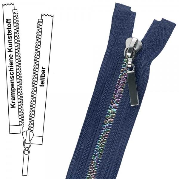 Reißverschluss für Kinderjacken - 6 mm Regenbogen-Krampenschiene (Kunststoff) - 1-Weg - Teilbar