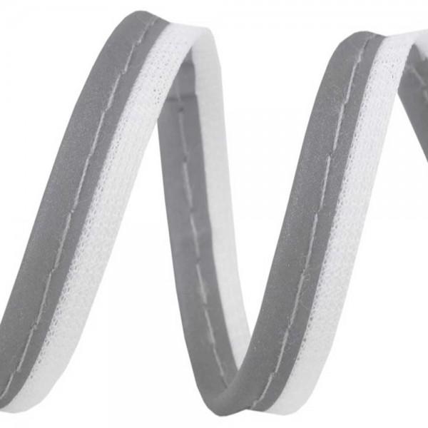 Reflektierendes Paspelband / Reflektor-Paspelband mit weißem Basis-Stoff