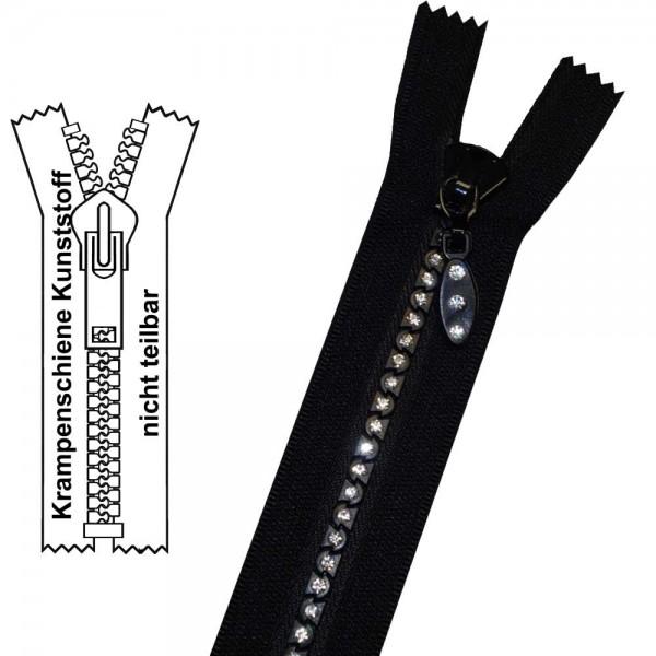 5 mm - Strass-Reißverschluss (Krampenschiene) - 1-Weg - Nicht Teilbar