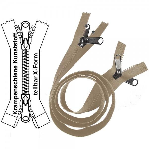Reißverschluss für Zelte / Planen - 9 mm (extra breite) Krampenschiene - X-Form/2-Wege - Teilbar