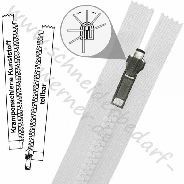 Reißverschluss für Wendejacken - 6 mm Krampenschiene (Kunststoff) - 1-Weg -Teilbar