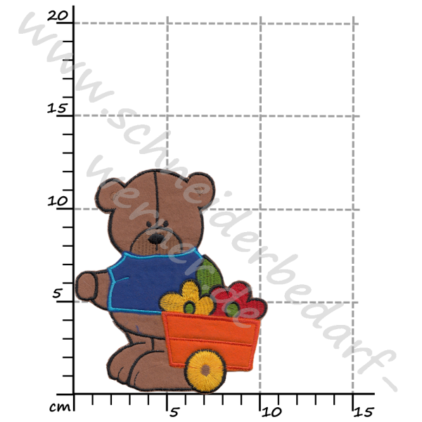 Applikation zum Aufbügeln (Bär mit Blumenwagen)