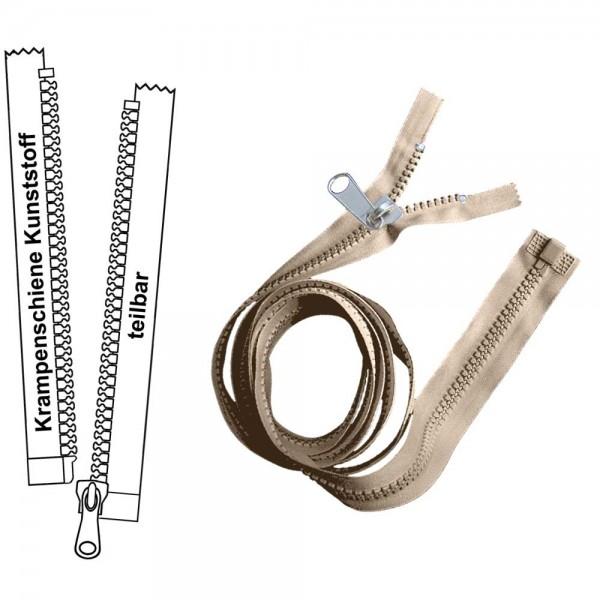 Reißverschluss für Zelte / Planen - 6 mm Krampenschiene (Kunststoff) - 1-Weg - Teilbar