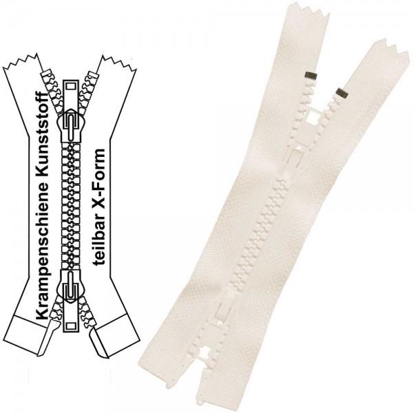 Reißverschluss für Jacken / Mäntel - 6 mm - Krampenschiene (Kunststoff) - X-Form/2-Wege - Teilbar